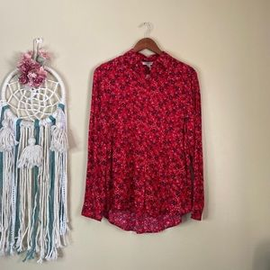 Beachlunchlounge Floral Button Down Shirt Red S